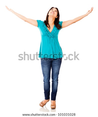 Woman with arms open - isolated over a white background - stock photo