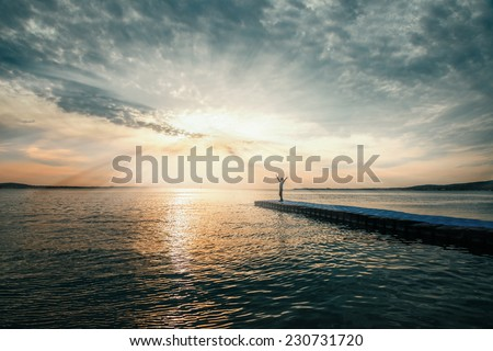 Woman with arms raised standing on pier near the sea, tranquil scene. Beautiful seascape. Image with sunlight effect - stock photo