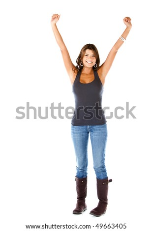 Woman with arms up isolated over a white background