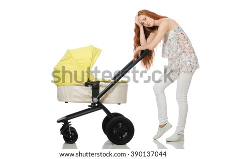 Woman with baby and pram isolated on white - stock photo