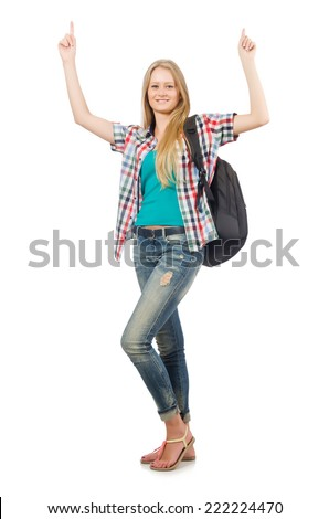 Woman with backpack isolated on white - stock photo