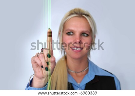 Woman with bad  code on finger and laser light reading data.