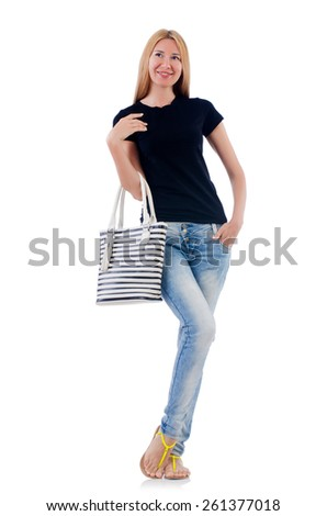 Woman with bag in fashion concept - stock photo