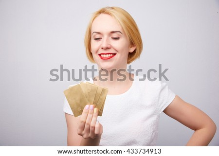 Woman with bank cards