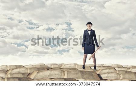 Woman with baseball bat - stock photo