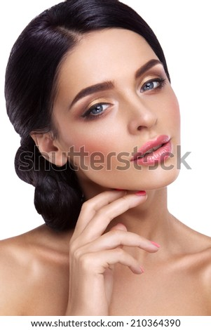 Woman with beautiful bright makeup. - stock photo