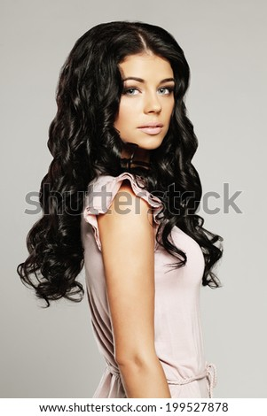 Woman with beautiful hair and makeup - stock photo
