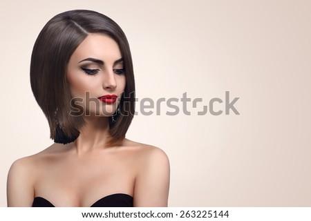 woman with beautiful hair bob - stock photo