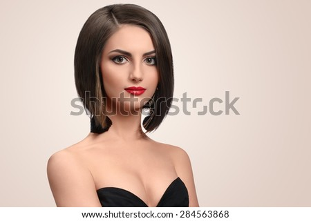 woman with beautiful hair bob - stock photo