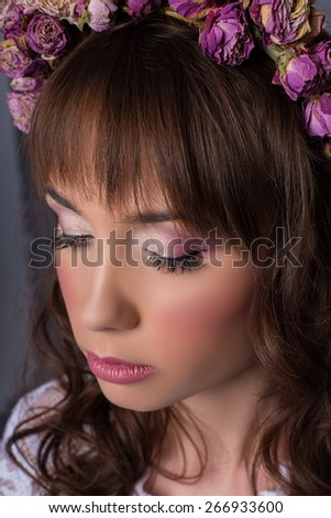 woman with beautiful makeup for the bride - stock photo