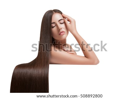 Woman with beauty long brown hair.  long hair.