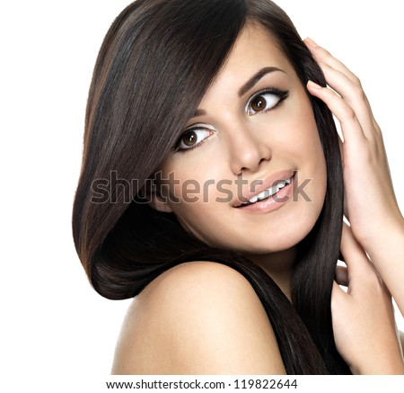 Woman with beauty long straight hair. Pretty young girl with beautiful hairstyle. Creative studio ��?��?��?��¿��?. - stock photo