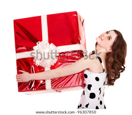 Woman with big red gift box. Isolated.