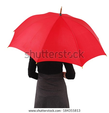 Woman with big umbrella, on white