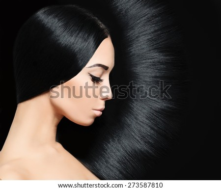Woman with black Hair. Fashion Hairstyle - stock photo