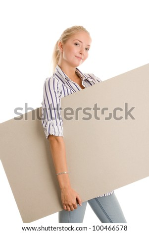 Woman with blank board banner - stock photo