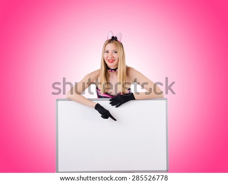 Woman with blank board isolated on white