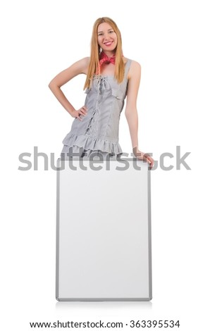 Woman with blank board isolated on white - stock photo