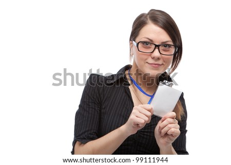 Woman with blank id card. Focused on blank id. Isolated over white. - stock photo