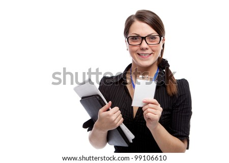Woman with blank id card. Isolated over white. - stock photo