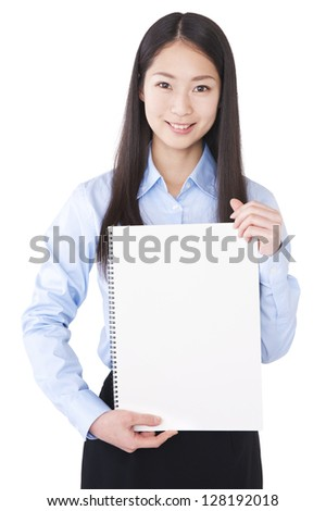 Woman with blank message board - stock photo