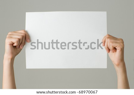 woman with blank paper