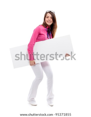 Woman with blank placard. Isolated over white. - stock photo