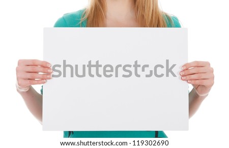 woman with blank white board on white background - stock photo