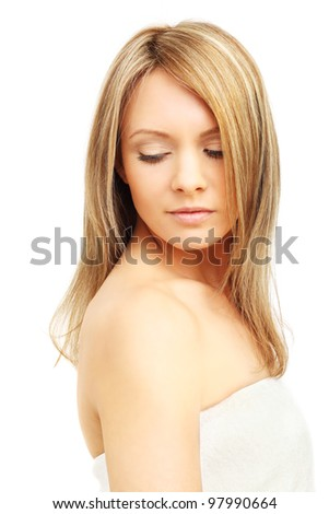 Woman with blond hair isolated - stock photo