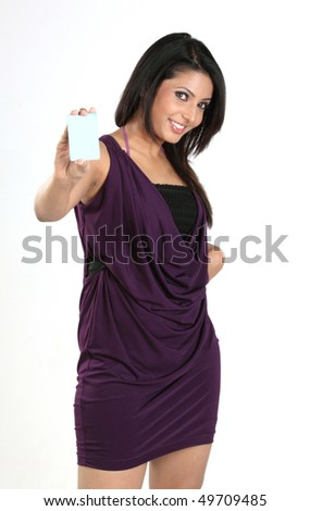 woman with blue blank card - stock photo