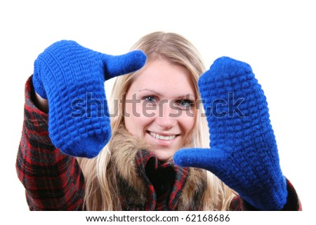 woman with blue gloves on her hands