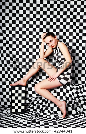 Woman with body-art - stock photo
