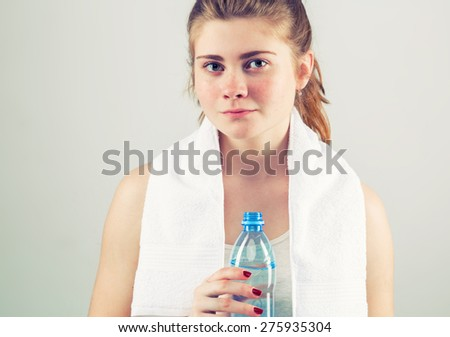Woman with bottle water  - stock photo