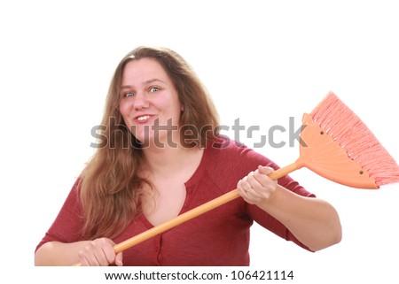 Woman with broom - stock photo
