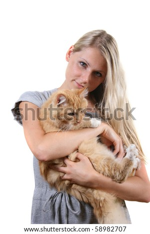 woman with brown fluffy cat