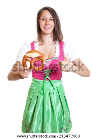 Woman with brown hair recommending the bavarian pretzel