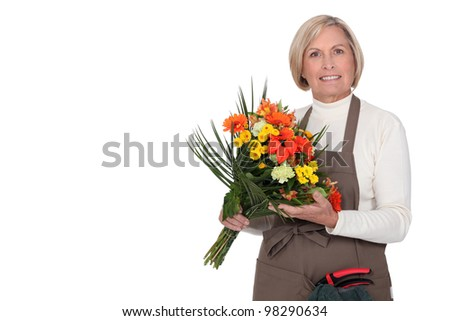 Woman with bunch of flowers