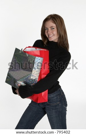 Woman with bundle of shopping bags