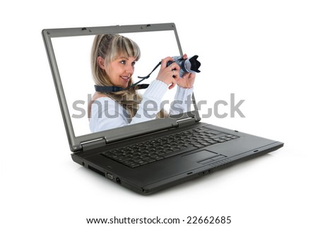 Woman with camera on white background