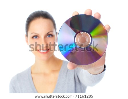 Woman with cd. Over white background - stock photo