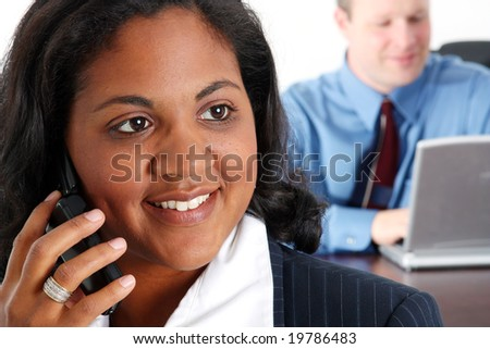 Woman with cell phone on a white background