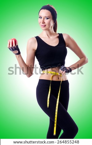 Woman with centimeter in health concept - stock photo