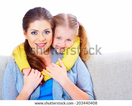 Woman with child girl. Happy mother with daughter. - stock photo