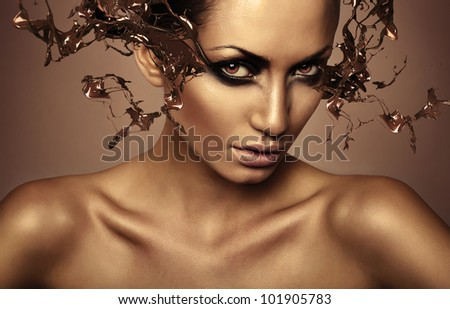 woman with chocolate splash on eyes