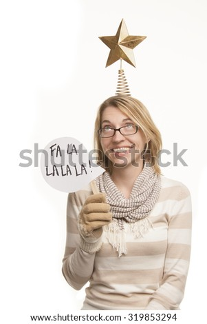 Woman with Christmas Props - stock photo