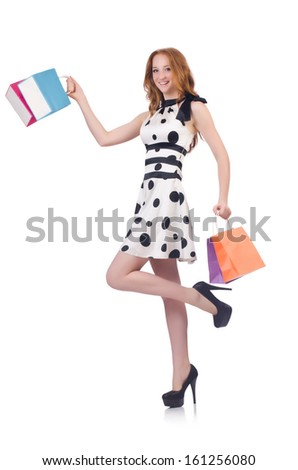 Woman with christmas shopping on white