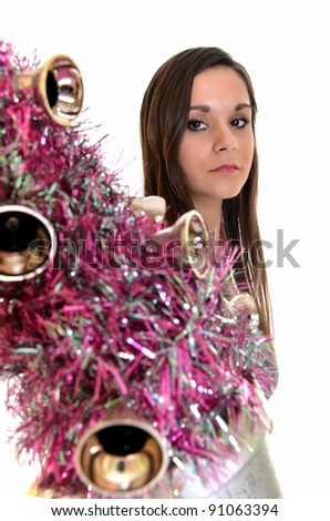 woman with christmas tree - stock photo