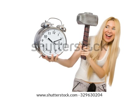 Woman with clock isolated on white - stock photo