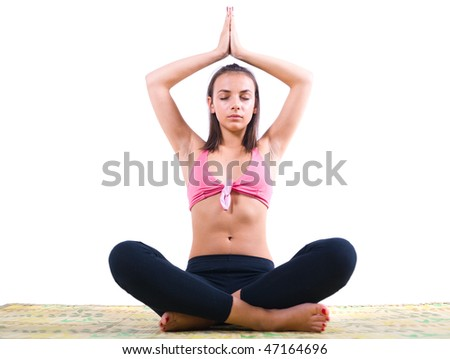 Woman with closed eyes meditating in yoga position.