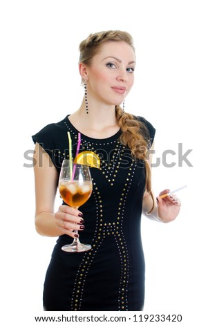 Woman with cocktail. Isolated on white. - stock photo